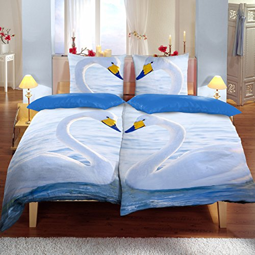 Bettwäsche 4tlg., Schwäne-Muster, Bettwäsche-Set, bequemer Bettbezug, Schlafzimmerbettwäsche, Doppelbett Bezug, 135 x 200cm