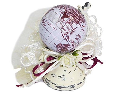 Zelda bomboniere bomboniera travel mappamondo 8 cm metallo con tulle portaconfetti e fiori
