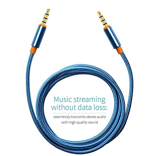 UNMCORE 3.5MM Gold Plated Nylon Braided Aux Audio Cable For Car Stereo Mobile Phones Speakers (Blue)