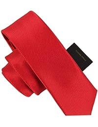 4394f4a6a Andre 6 cm Rojo sólido Flaco Corbata Arte clásico diseño Hombres 100%  Corbata de Seda Fiesta del Todo-fósforo…