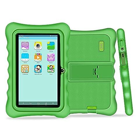 Yuntab 7 pouces Tablette Tactile enfant Allwinner A33 HD 1024 X 600 Tablette PC Android 4.4.2 KITKAT 8 Go WiFi intégré Iwawa logiciel Youtube Jeux Éducatif avec étui (tablette verte, étui vert)