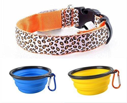MHtech 2 X Faltbarer Hundenapf Klappbarer Wassernapf Hund Futter Silikon Napf Reisenapf Für Haustier + 1 X LED Halsband Hundehalsband USB Wiederaufladbare Hunde Katze LED Halsbänder Leuchthalsband Blinklicht Leucht Größe M