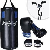 Physionics Boxset - Boxsack mit Boxhandschuhen und Halterung, Kinder Boxset