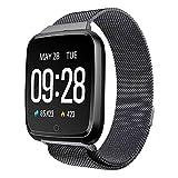TechCode Smart Uhren Wasserdichter Fitness Tracker Pulsmesser Blutdruck Blutsauerstoffuhr Sport Bluetooth Smartwatch Anruf SMS Erinnern für iPhone Samsung Huawei Xiaomi HTC Sony LG und