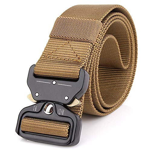 LLUFFY-Belt Unisex Belt Nylon, tactics, belts, quick release, breathable, metal buckle, training, brown wolf, 125 cm