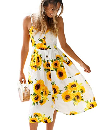 BMJL Home Women Dress Floral Printed V-Neck Adjustable Spaghetti Strap Ruched Button at Front Lining Midi Dresses for Women Summer with Pockets
