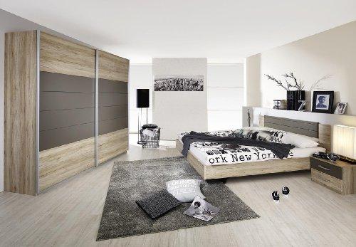 Rauch Schlafzimmer Komplett Set mit Bett 180×200, Schwebetürenschrank und Nachttischen, Eiche San Remo hell, Absetzungen Lavagrau