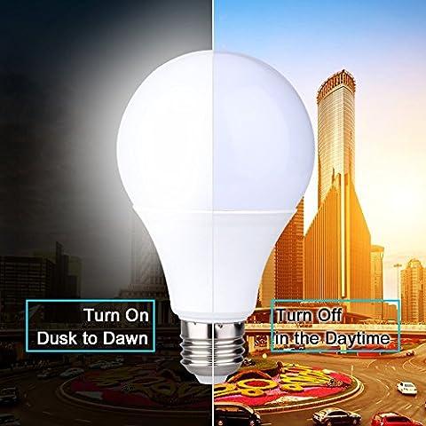 E27 LED Sensor Light Bulbs Built-in Photosensor Detection Auto Switch Light Indoor/Outdoor Lighting Lamp for Porch Hallway Patio Garage (9W 810Lumens, Warm White