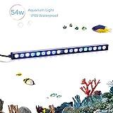TOPLANET 54w Led Aquarium Beleuchtung Pflanzen Lichter Aquarien Meerwasser Led Lampe Blue White Light für Nano Fisch Riff Growth 180°Einstellbar Haken 55cm