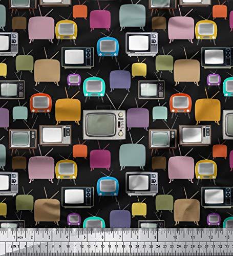 Soimoi 44 Zoll breit Reine Seide Stoff Fernsehen Druckerzeugnisse 20 GSM by The Meter- Schwarz