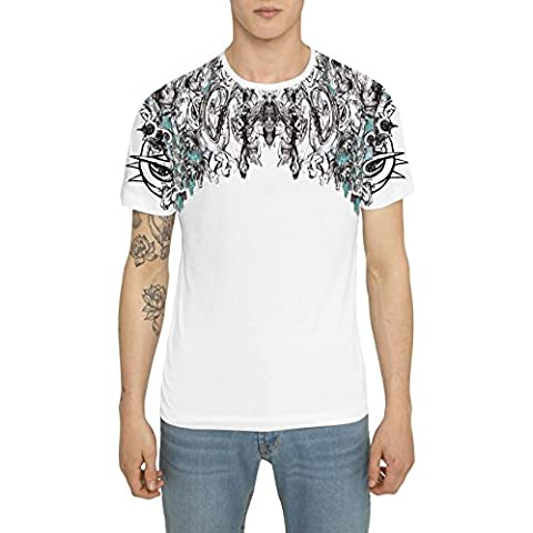 Camisetas para Hombre, T Shirt Cool Fashion Rock, Camiseta Blanca con Estampada Graffiti Tattoo - GOTHIC KING Designer T-shirt de Algodón, Cuello redondo, Manga corta, Ropa Moda Urbana S M L XL XXL