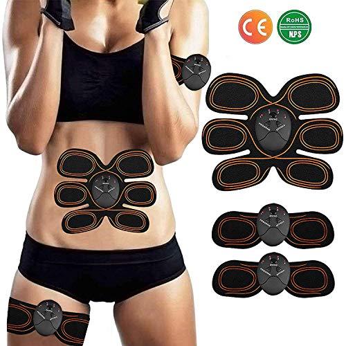 ZHENROG EMS Elektrische muskelstimulator,Smart Fitness-Gerät EMS Bauchmuskel Trainingsmaschine, Bauchgürtel Muskelaufbau ABS, Wireless Portable Bauch/Arm/Bein Trainer für Männer -