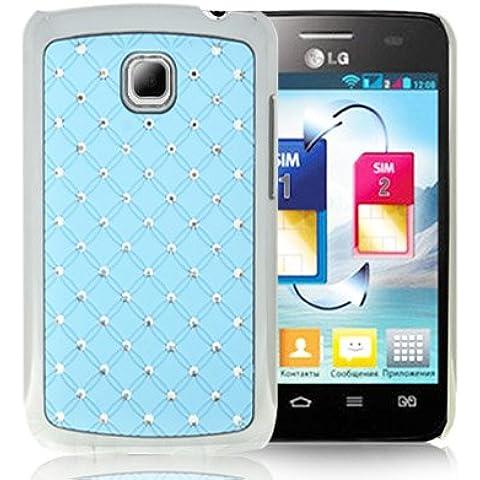 Luxury Bling Diamond Plating Skinning Funda Case Funda Para LG Optimus L3 II E340 (Baby Blue)