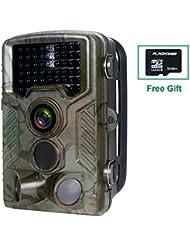 Wildkamera mit Bewegungsmelder, FLAGPOWER Wildkamera Fotofalle 16MP 1080P Full HD Jagdkamera Low-Glow-Infrarot IP56 Wasserdichte Überwachungskamera 120°Breite Vision 20m Nachtsichtkamera mit 46 PC IR LEDs und 32GB Micro SD Karte