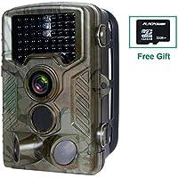 FLAGPOWER Wildkamera mit SD Karte(32GB), Wildkamera Fotofalle 16MP 1080P Full HD Jagdkamera 120°Weitwinkel Vision Infrarote 20m Nachtsicht Wasserdichte IP66 Überwachungskamera Low-Glow-Infrarot Nachtsichtkamera mit 46 PC IR LEDs