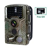 FLAGPOWER Wildkamera mit SD Karte(32GB), Wildkamera Fotofalle 16MP 1080P Full HD Jagdkamera 120°Weitwinkel Vision Infrarote 20m Nachtsicht Wasserdichte IP56 Überwachungskamera Low-Glow-Infrarot Nachtsichtkamera mit 46 PC IR LEDs
