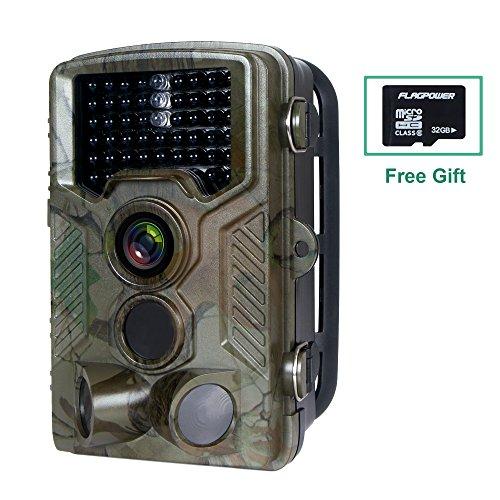 Produktbild Wildkamera mit Bewegungsmelder, FLAGPOWER Wildkamera Fotofalle 16MP 1080P Full HD Jagdkamera Low-Glow-Infrarot IP56 Wasserdichte Überwachungskamera 120°Breite Vision 20m Nachtsichtkamera mit 46 PC IR LEDs und 32GB Micro SD Karte