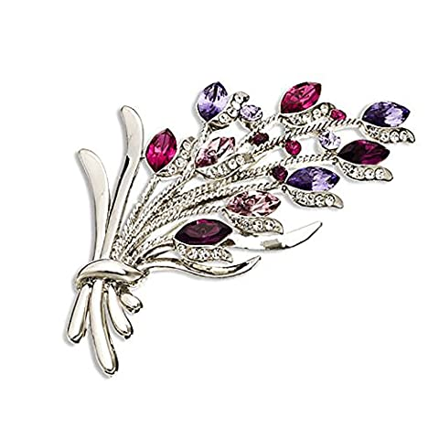14K Gold, Silver Rhodium Plated Large Distinguished Swarovski Crystal Vintage Style Flower Bunch Brooch Pin - Amethyst, Janeo Jewels - Bambino Dragonfly Spilla