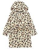 DELEY Unisex Kinder Mädchen Jungen Kapuzen-Bademantel Morgenmantel Weiches Coral-Fleece Nachtwäsche Warm Tier Pyjamas Leopard Größe 104/110