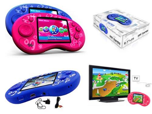Pocket Konsole OVERMAX OV-POCKETPLAYER (Blau) mit 180 integrierten Spielen, TV Ausgang, 2.7 Zoll LCD Bildschirm und wundervoller Grafik - idealer Reisebegleiter