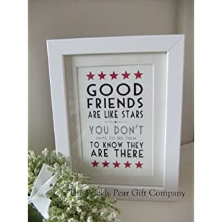 Framed East of India Print - Picture - 'Good Friends Are Like Stars, You Don't Have To See Them To Know They Are There'