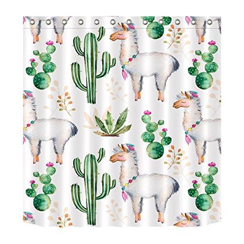 Tier,Alpaka,Pflanze,Kaktus_Decor Duschvorhang für Kind,Polyester Stoff Badezimmer Dekor Set mit Haken,71x71 Zoll (Duschvorhänge Stoff Kinder)