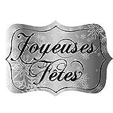 """40 étiquettes """"joyeuses Fêtes """" argent..."""