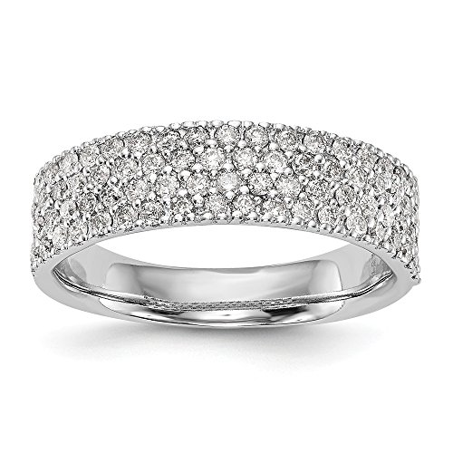 diamond2deal Damen 14 K Weiß Gold Micro Pave Diamant Band (0.6ct, h-si2) (Diamant Mens Bands, Echter Wedding)