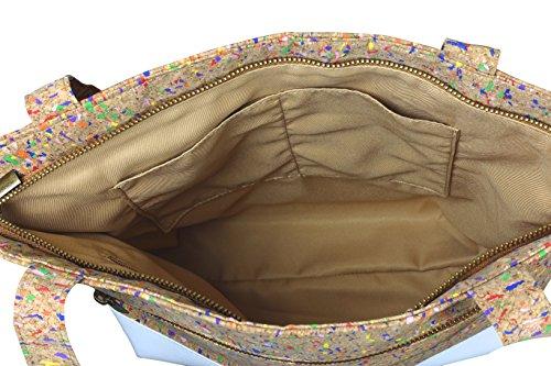 lila Tulpe - Schultertasche Ruby / hochwertige Damen Handtasche / Umhängetasche mit Reißverschluss aus Kork und veganem Leder / leicht, vegan und nachhaltig - 5