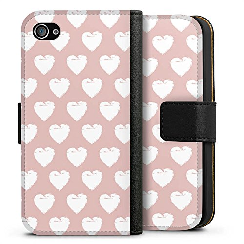 Apple iPhone X Silikon Hülle Case Schutzhülle Herzen Muster Liebe Sideflip Tasche schwarz