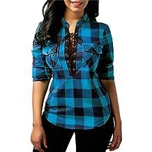 S~5XL-Camisetas de Cuadros Manga Larga Para Mujer, LILICAT® Camisetas Rpoa