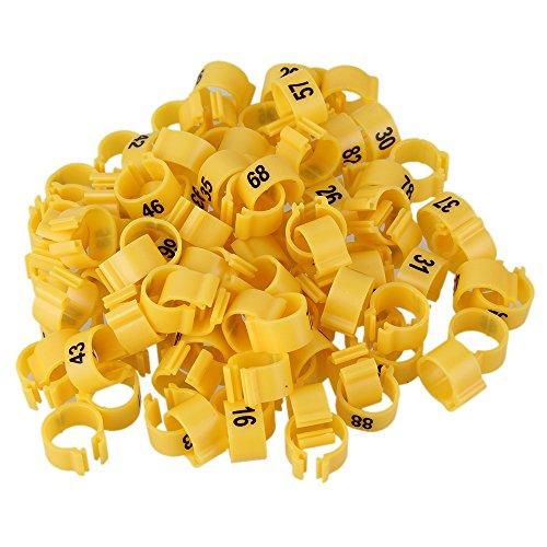 Mxfan - 100 Anillas de plástico para piernas de Carreras DE 9,5 mm, numeradas 1-100, Color Amarillo