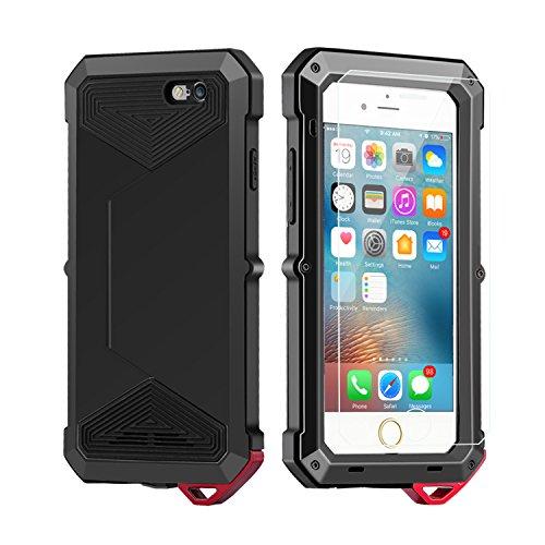iPhone 6 6S Case Antidérapant, Techken Slim Anti-Scratch Kit de protection anti-poussière avec couvercle en verre tempéré pour écran d'écran pour iPhone 6 6S noir
