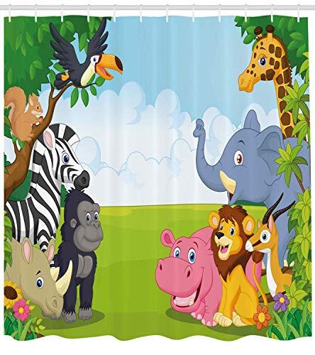 Nyngei con animali design per bambini camera dei bambini safari tema animali dei cartoni animati immagine artwork stampa di stoffadel con ganci lungo blu verde