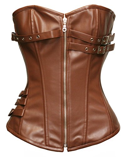 BSLINGERIE® Womens Black Faux Leather Straps Boned Corset with Zipper (UK 8-10 (S), Brown Zip Up (Steel Boned)) steampunk buy now online
