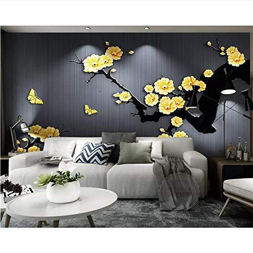 Wiwhy Fototapete Wandbilder Chinesische Klassische Goldschmuck Pflaume Tv Hintergrund Wand Wohnzimmer Schlafzimmer 3D Tapete-280X200Cm