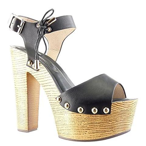 Angkorly - Chaussure Mode Sandale Mule plateforme femme clouté métallique bois Talon haut bloc 14 CM - Noir - PN1566 T 38