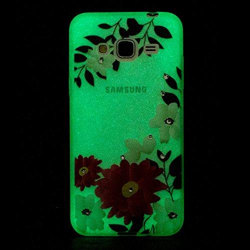 Coque Samsung J3 (2016) , Coque Galaxy J3 (2016) , Anfire Lumière Noctilucent Etui Souple Flexible en Premium TPU Samsung Galaxy J3 (2016) (5.0 pouces) Ultra Mince Gel Silicone Transparent Clair Houss Fleur rouge