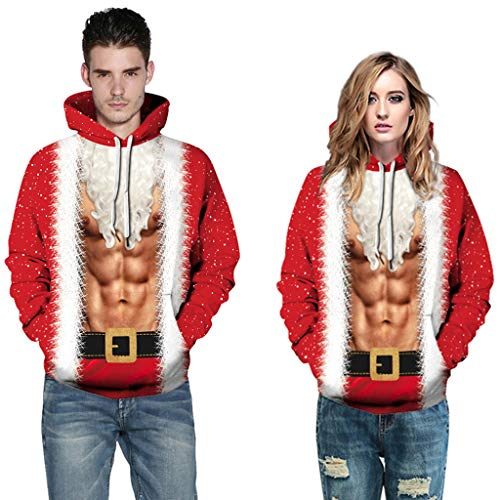 Weihnachten Hoodie Sweatshirt,Sonnena Herren Lose 3D Print Lange Hülse Kapuzen Pullover Top Lässige Große Größe Xmas Sweatjacke Bluse Top Kapuzenpullover ()