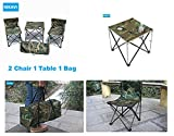 NIKAVI Portable Chair - 2 PC & Table - 1 PC - Camouflage