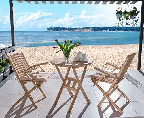 SAM 3-tlg. Gartengruppe Rondo, Teak-Holz, 1x Tisch rund 80 cm + 2x Klappstuhl mit Armlehnen...