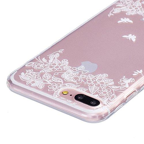 iPhone 7 PLUS Hülle, Cozy Hut ® [Liquid Crystal] [Ultra Dünn] Bumper-Style Premium-TPU / Sehr Leicht / Perfekte Passform / Durchsichtiges Soft-Case Schutzhülle für Apple iPhone 7 PLUS (5.5 zoll), Appl Zwei Schmetterlinge