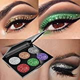 MojiDecor Palette Glitter Antiacqua 6 Colori Ombretti Brillanti, Tavolozza di Trucco di Ombretto per Occhi, Make Up Kit Cosmetico Impermeabile Scintillio Diamante Eyeshadow, Trucco Ideale per Vita