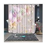 Gnzoe Polyester Duschvorhang Blumen Muster Design Vorhang Waschbar für Badezimmer/Badewanne Bunt 200x180CM