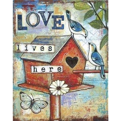 Feeling at home, Stampa artistica x cornice - quadro, fine art print, Love Lives Qui cm 97x76
