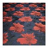 Stoff Polyester Jacquard Kleidertaft dunkelblau Blüte rot