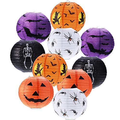 Boao 10 Piezas Linternas de Papel de Halloween Linterna de Calabaza Linterna de Calabaza Linterna Esqueleto de Murciélago Araña para la Decoración de la Fiesta de Halloween, 8 Pulgadas