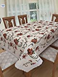 #9: Clasiko 6 Seater PVC Table Cover; Brown Flowers On Off White Base; Anti Slip; 60x90 Inches; 6 Seater