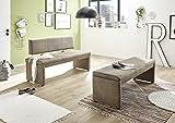 Malta/150-RL Vintage Braun Bank Sitzbank Küchenbank Tischgruppe mit Rückenlehne ca. 150 cm breit