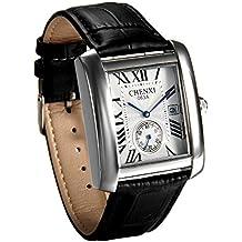 JewelryWe Reloj Blanco para Hombre Relojes de Caballero, Reloj Cuadrado Retro Vintage Original, Cuarzo Reloj con Calendario de Estilo Buen Regalo 2017